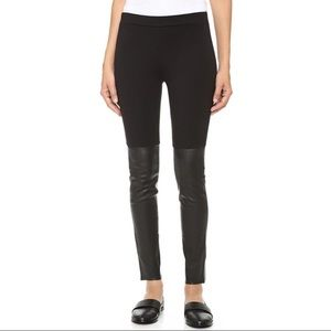 Vince Mixed Media Leather Trimmed Leggings